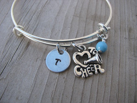 Cheer Charm Bracelet -Adjustable Bangle Bracelet with an Initial Charm and an Accent Bead of your choice