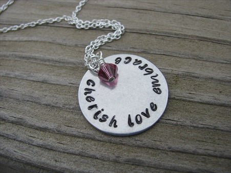 "Cherish Love Embrace Inspiration Necklace- ""cherish love embrace"" - Hand-Stamped Necklace with an accent bead in your choice of colors"