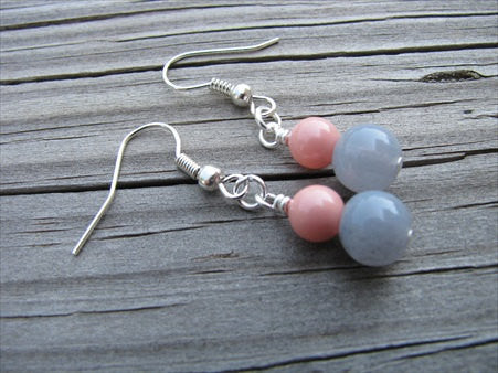 Coral Pink and Grey Beaded Earrings