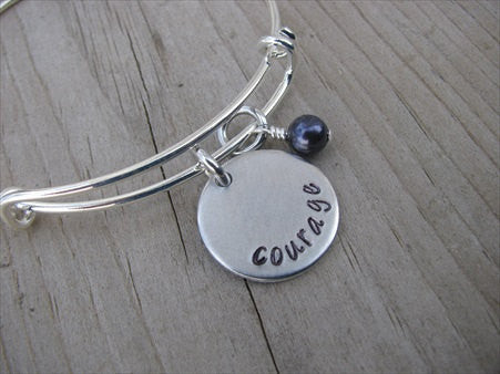 "Courage Inspiration Bracelet- ""courage""  - Hand-Stamped Bracelet  -Adjustable Bangle Bracelet with an accent bead of your choice"