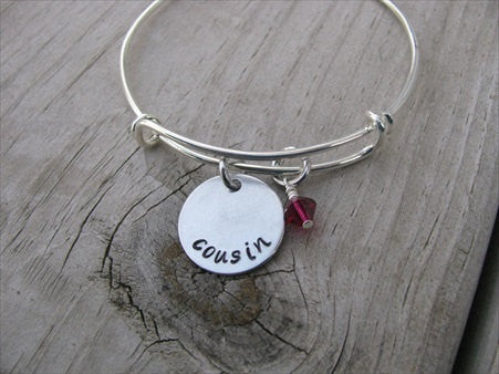 "Cousin Inspiration Bracelet- ""cousin""  - Hand-Stamped Bracelet  -Adjustable Bangle Bracelet with an accent bead of your choice"