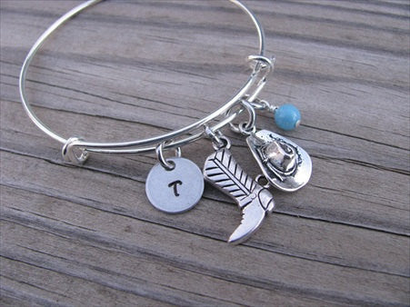 Cowgirl Charm Bracelet -Adjustable Bangle Bracelet with an Initial Charm and an Accent Bead of your choice