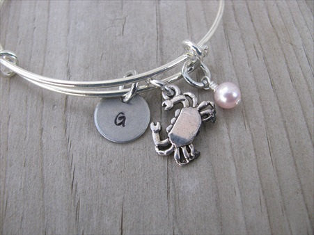 Crab Charm Bracelet -Adjustable Bangle Bracelet with an Initial Charm and an Accent Bead of your choice