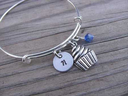 Cupcake Charm Bracelet -Adjustable Bangle Bracelet with an Initial Charm and an Accent Bead of your choice