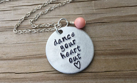 "Dance Inspiration Necklace- ""dance your heart out"" - Hand-Stamped Necklace with an accent bead in your choice of colors"