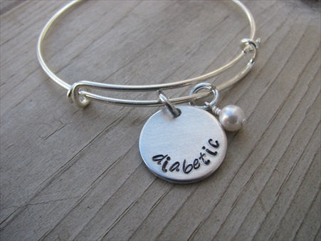 "Diabetic Bracelet - Hand-Stamped Medical Alert Bracelet "" diabetic""   -Adjustable Bangle Bracelet with an accent bead of your choice"