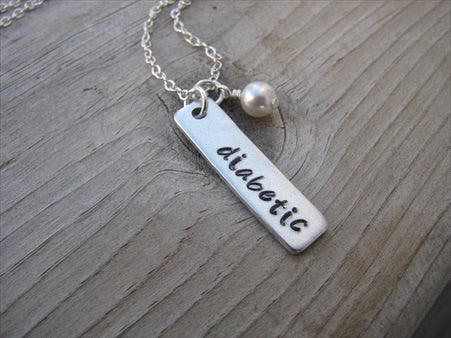 "Diabetic Necklace- Medical Alert Necklace-brushed silver rectangle ""diabetic""- Hand-Stamped Necklace"