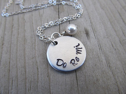 "Do Re Mi Inspiration Necklace- ""Do Re Mi"" - Hand-Stamped Necklace with an accent bead in your choice of colors"