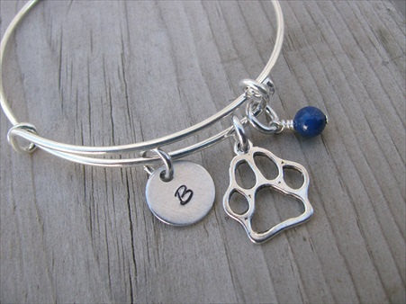 Dog Paw Charm Bracelet -Adjustable Bangle Bracelet with an Initial Charm and an Accent Bead of your choice