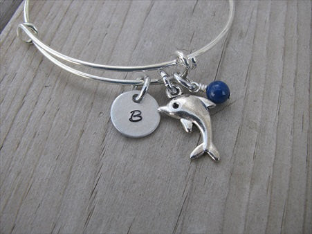 Dolphin Charm Bracelet -Adjustable Bangle Bracelet with an Initial Charm and an Accent Bead of your choice