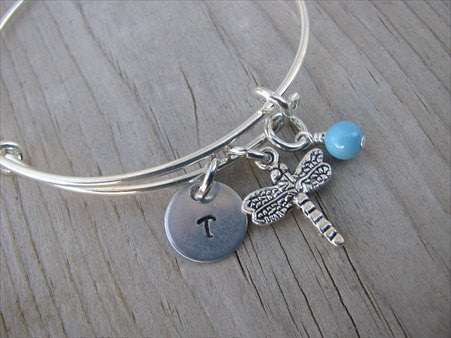 Dragonfly Charm Bracelet- Adjustable Bangle Bracelet with Initial Charm and an Accent bead in your choice of colors