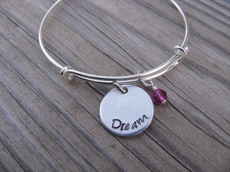 "Dream Inspiration Bracelet- ""dream""  - Hand-Stamped Bracelet  -Adjustable Bangle Bracelet with an accent bead of your choice"