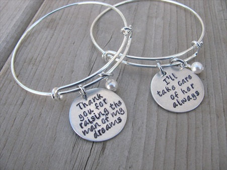 "Bracelet Set- Mother in Law Gifts- ""Thank you for raising the man of my dreams"" and ""I'll take care of her always""  - Hand-Stamped Bracelets- Adjustable Bangle Bracelets with an accent bead of your choice"