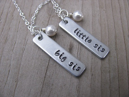 "Sisters Necklaces- 2 Necklace Set- ""big sis"", ""little sis"" rectangle pendants-- Hand-Stamped Necklaces with an accent bead of your choice"
