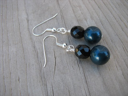 Peacock Blue/Petrol Blue and Black Beaded Earrings