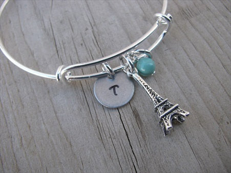 Eiffel Tower Charm Bracelet with an Initial Charm and Accent Bead in your choice of colors