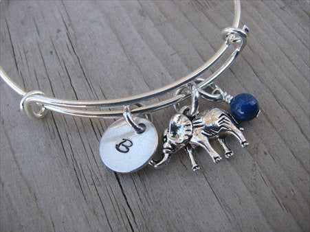 Elephant Charm Bracelet -Adjustable Bangle Bracelet with an Initial Charm and Accent Bead of your choice