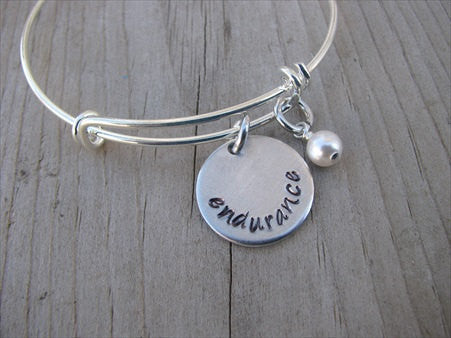 "Endurance Inspiration Bracelet- ""endurance""  - Hand-Stamped Bracelet  -Adjustable Bangle Bracelet with an accent bead of your choice"