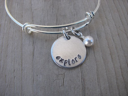 "Explore Inspiration Bracelet- ""explore""  - Hand-Stamped Adjustable Bracelet with an accent bead of your choice"