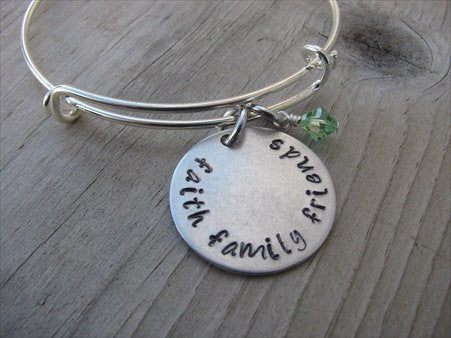 "Faith Family Friends Inspiration Bracelet- ""faith family friends"" - Hand-Stamped Bracelet- Adjustable Bangle Bracelet with an accent bead of your choice"