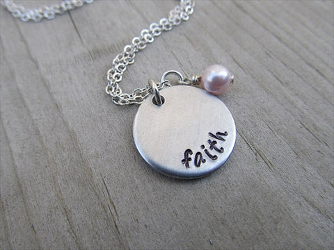 "Faith Inspiration Necklace- ""faith"" - Hand-Stamped Necklace with an accent bead in your choice of colors"