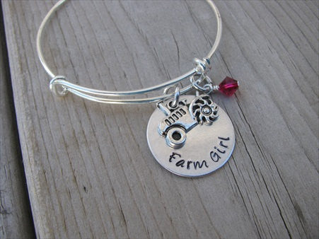 "Farm Tractor Bracelet- ""Farm Girl"" with tractor charm - Hand-Stamped Bracelet- Adjustable Bangle Bracelet with an accent bead of your choice"