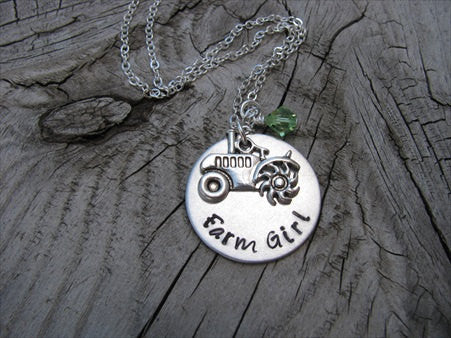 "Tractor Necklace- Hand-Stamped Necklace-""Farm Girl"" with Tractor charm - Hand-Stamped Necklace with an accent bead of your choice"