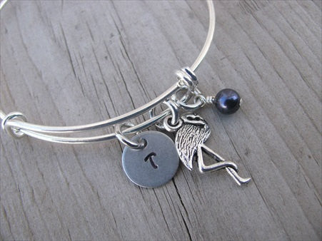 Flamingo Charm Bracelet- Adjustable Bangle Bracelet with an Initial Charm and Accent Bead in your choice of colors
