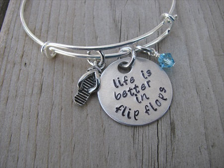 "Inspiration Bracelet- ""life is better in flip flops"" with flip flop charm  - Hand-Stamped Bracelet- Adjustable Bangle Bracelet with an accent bead of your choice"