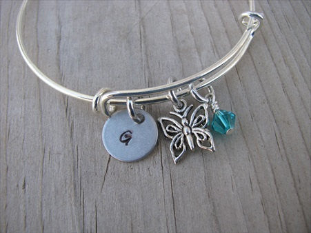 Butterfly Charm Bracelet -Adjustable Bangle Bracelet with an Initial Charm and an Accent Bead of your choice