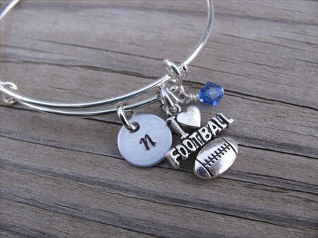 Football Charm Bracelet- Adjustable Bangle Bracelet with an Initial Charm and Accent Bead of your Choice