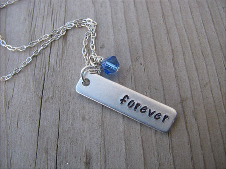 "Forever Inspiration Necklace ""forever""- Hand-Stamped Necklace with an accent bead in your choice of colors"