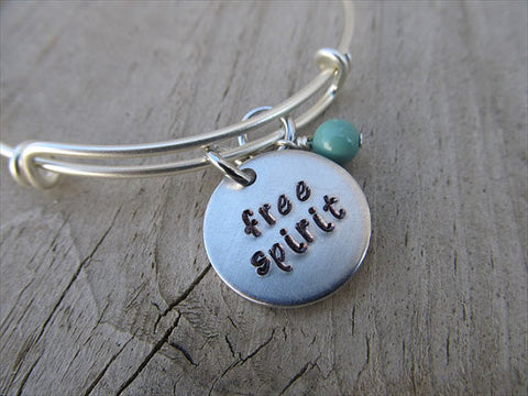 "Free Spirit Bracelet- ""free spirit""  - Hand-Stamped Bracelet- Adjustable Bangle Bracelet with an accent bead of your choice"