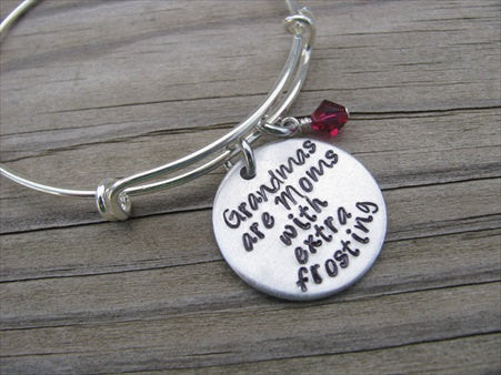 "Grandmother's Bracelet- ""Grandmas are Moms with extra frosting"" - Hand-Stamped Bracelet- Adjustable Bangle Bracelet with an accent bead of your choice"