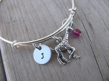 Giraffe Charm Bracelet- Adjustable Bangle Bracelet with an Initial Charm and Accent bead of your choice