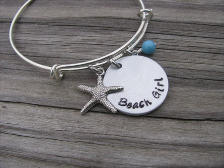 Beach Girl Bracelet with Starfish Charm - Hand-Stamped Bracelet  -Adjustable Bangle Bracelet with an accent bead of your choice