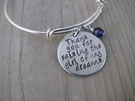 "Mother in Law Bracelet- ""Thank you for raising the girl of my dreams"" - Hand-Stamped Bracelet- Adjustable Bangle Bracelet with an accent bead of your choice"