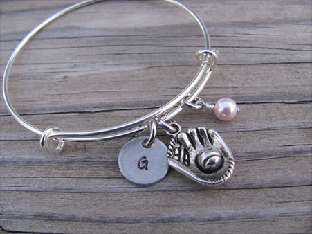 Baseball Glove Charm Bracelet -Adjustable Bangle Bracelet with an Initial Charm and an Accent Bead of your choice