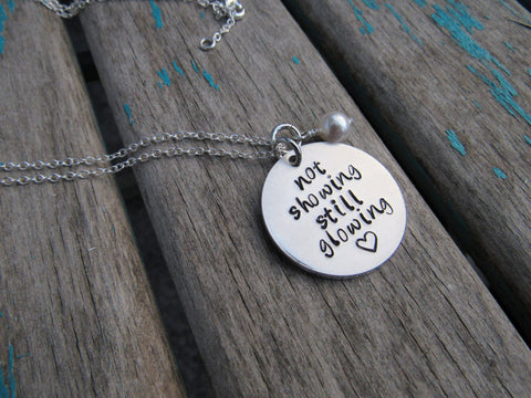 "Adoption Inspiration Necklace- ""not showing still glowing"" - Hand-Stamped Necklace with an accent bead in your choice of colors"