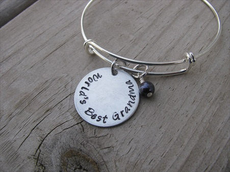 "Grandmother's Bracelet- ""World's Best Grandma"" - Hand-Stamped Bracelet- Adjustable Bangle Bracelet with an accent bead of your choice"