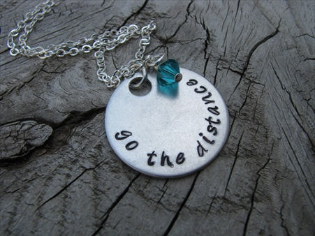 "Go The Distance Inspiration Necklace- ""go the distance"" - Hand-Stamped Necklace with an accent bead in your choice of colors"