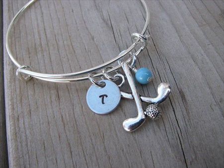 Golf Charm Bracelet- Adjustable Bangle Bracelet with an Initial Charm and Accent Bead of your choice