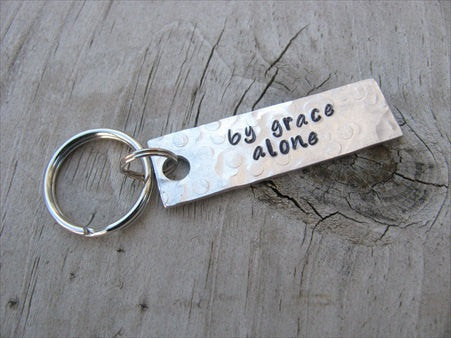 "By Grace Alone Inspiration Keychain - ""by grace alone"" - Hand Stamped Metal Keychain- small, narrow keychain"