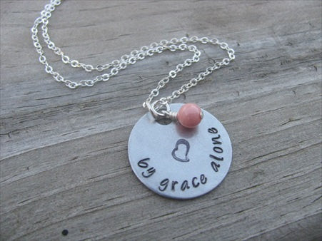 "By Grace Alone Inspiration Necklace- ""by grace alone"" with heart stamp   - Hand-Stamped Necklace with an accent bead in your choice of colors"