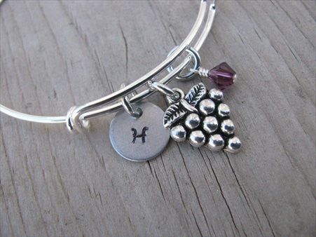 Grapes Charm Bracelet- Adjustable Bangle Bracelet with an initial charm and accent bead of your choice