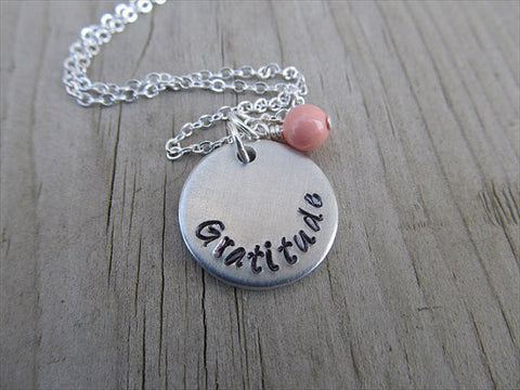 "Gratitude Inspiration Necklace- ""Gratitude""  - Hand-Stamped Necklace with an accent bead of your choice"