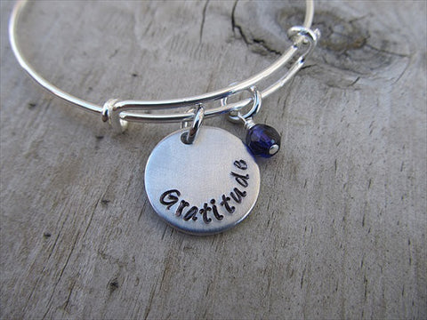 "Gratitude Inspiration Bracelet- ""Gratitude""  - Hand-Stamped Bracelet- Adjustable Bangle Bracelet with an accent bead of your choice"