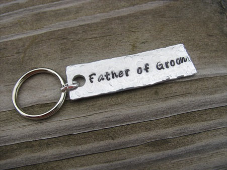"Father of the Groom Keychain - ""Father of Groom"" - Hand Stamped Metal Keychain- small, narrow keychain"