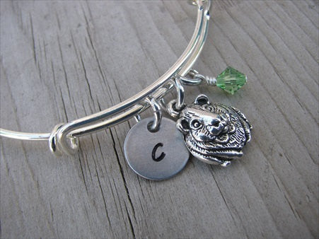 Guinea Pig Charm Bracelet- Adjustable Bangle Bracelet with a Initial Charm and an Accent Bead of your choice