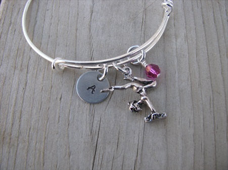 Gymnastics Charm Bracelet- Adjustable Bangle Bracelet with an Initial Charm and an Accent Bead in your choice of colors